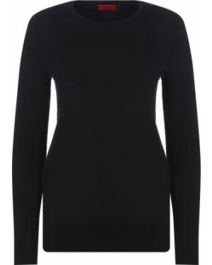 Шерстяной черный свитер узкого кроя с круглым вырезом Hugo