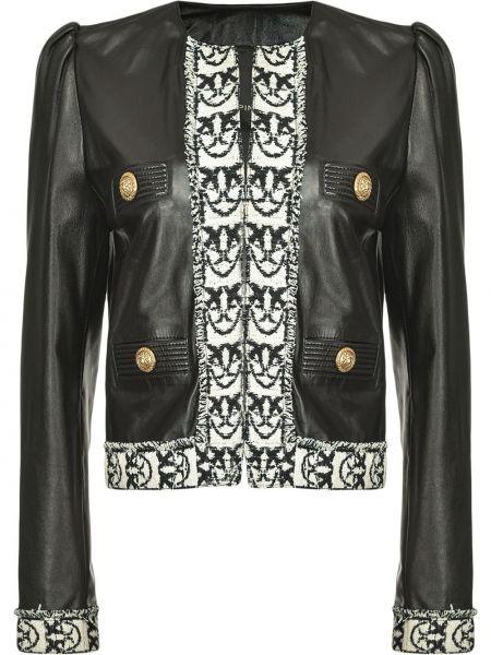Akryl czarny długa kurtka z kieszeniami z długimi rękawami Pinko