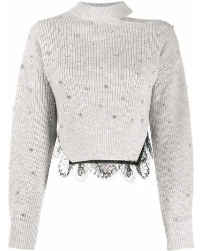 Серый ажурный свитер с воротником в рубчик Self-portrait