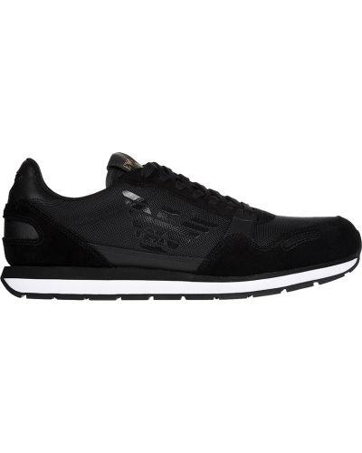 Черные кроссовки замшевые Emporio Armani