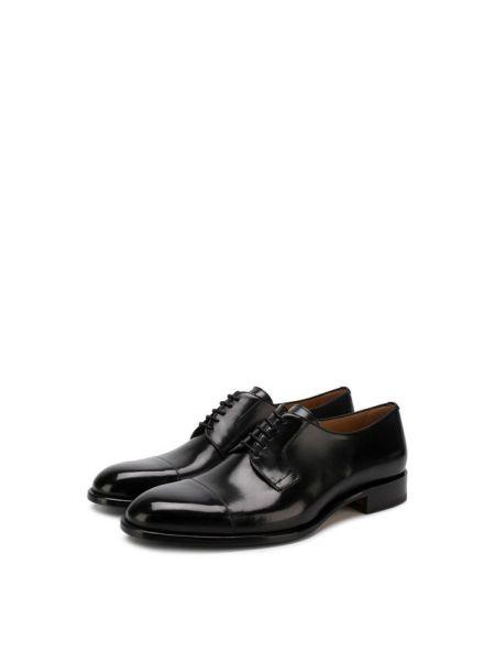 Кожаные черные дерби на каблуке на шнуровке Brioni