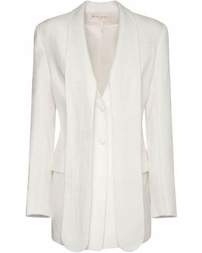 Льняной белый удлиненный пиджак с карманами Matériel