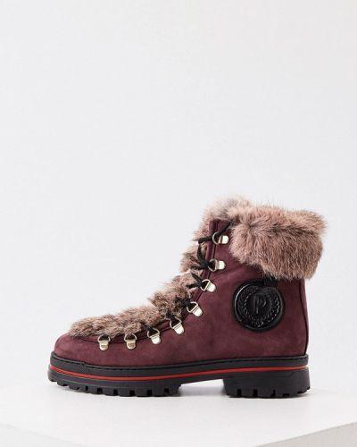 Кожаные ботинки - бордовые Pollini