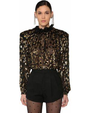 Блузка с рюшами бархатная Saint Laurent