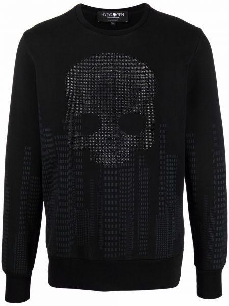 Czarna bluza długa z długimi rękawami bawełniana Hydrogen