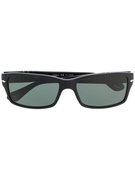 Czarny oprawka do okularów prostokątny wytłoczony Persol