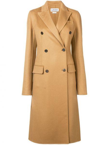 Коричневое кашемировое пальто классическое двубортное Loewe