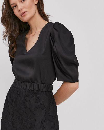 Czarna bluzka na co dzień materiałowa Dkny