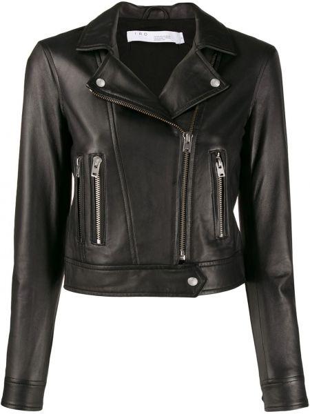Черная куртка на молнии байкерская с воротником Iro