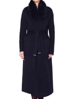 Шерстяное пальто - синее Soia & Kyo