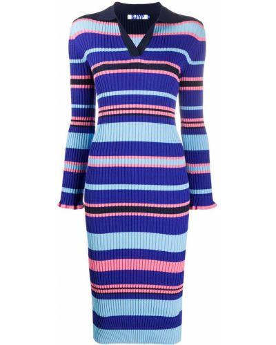 Синее платье миди в рубчик с V-образным вырезом с воротником Sjyp