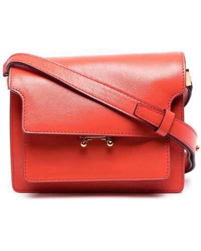 Кожаные красные плавки с карманами Marni