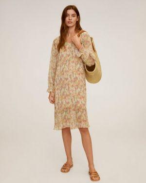 Платье миди с цветочным принтом с V-образным вырезом Mango