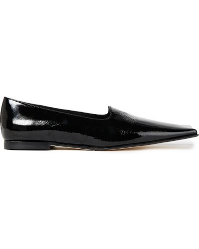 Czarne loafers skorzane na obcasie Miista