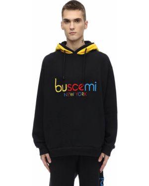 Czarna bluza z kapturem z haftem Buscemi