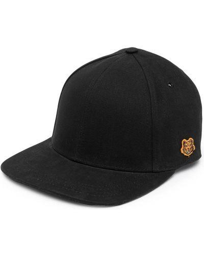 Czarna czapka z haftem bawełniana Kenzo