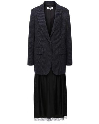 Шерстяной синий пиджак с подкладкой Mm6