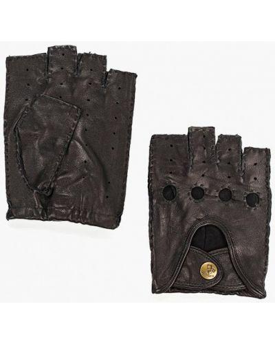 Кожаные перчатки митенки черные Eleganzza