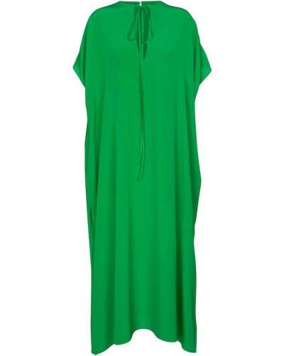 Шелковое зеленое платье макси с изумрудом Victoria Beckham