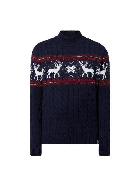 Prążkowany niebieski sweter bawełniany Mcneal