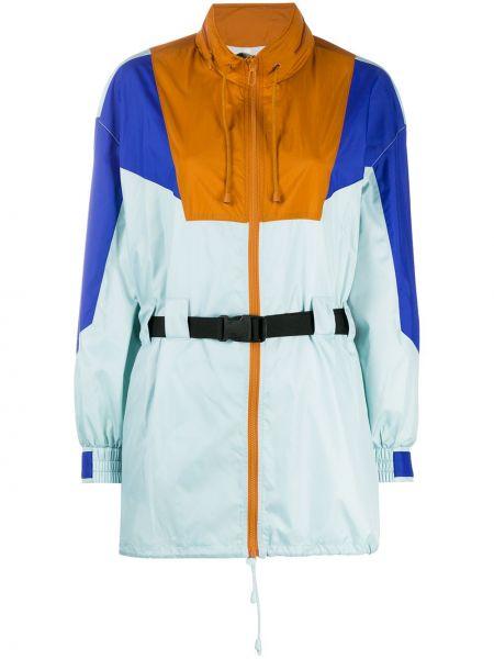 С рукавами синяя куртка на молнии с поясом Sjyp
