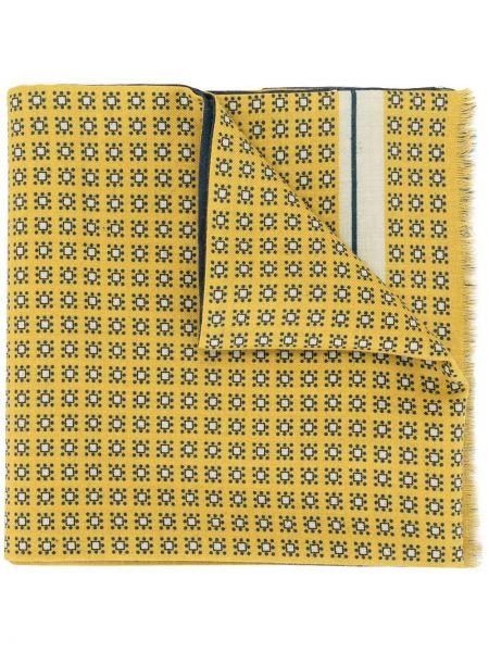 Żółty szalik wełniany z printem Kent & Curwen