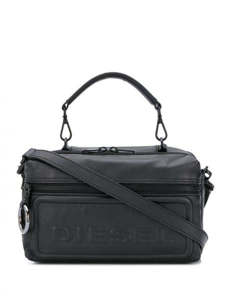 Кожаная черная кожаная сумка на молнии Diesel