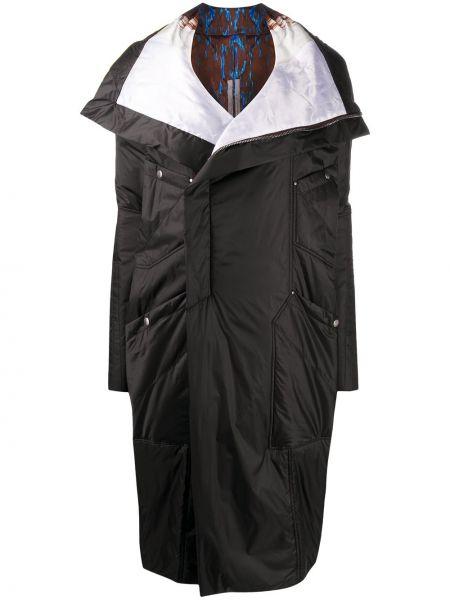 Z rękawami czarny długi płaszcz z kołnierzem z kieszeniami Rick Owens