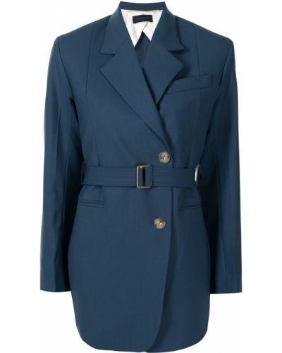 Синий удлиненный пиджак двубортный с подкладкой Eudon Choi