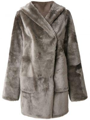 С рукавами серое пальто с капюшоном из овчины с потайной застежкой Sylvie Schimmel