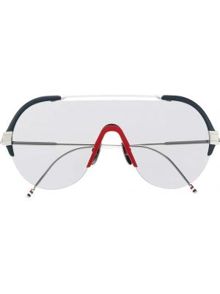 Серебряные солнцезащитные очки с завязками Thom Browne Eyewear