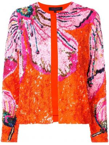 Оранжевый нейлоновый пиджак с пайетками с вырезом Manish Arora