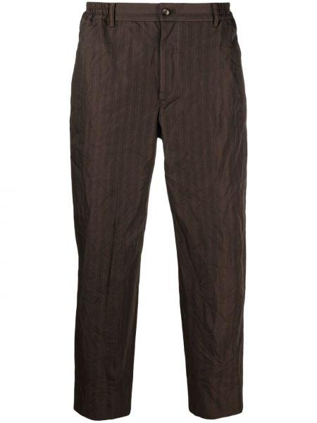 Brązowe spodnie w paski z paskiem Comme Des Garcons Homme Deux