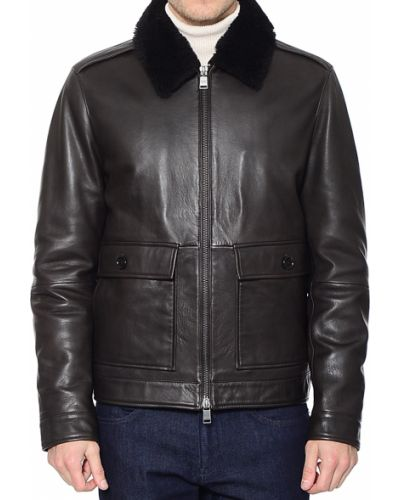 Кожаная куртка из полиэстера - коричневая Hugo Boss