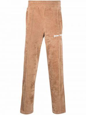 Spodnie bawełniane - brązowe Palm Angels