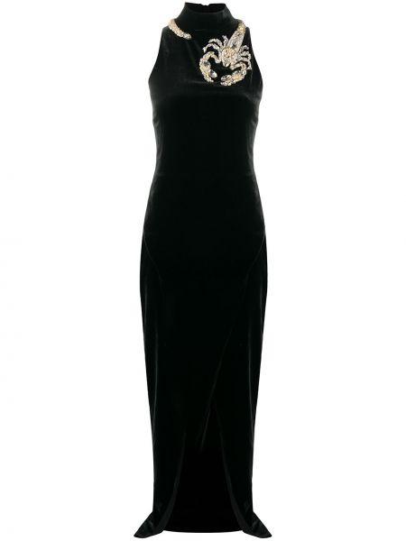 Облегающее шелковое черное платье Balmain