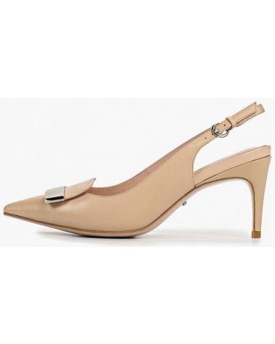 Туфли на каблуке кожаные с открытой пяткой Vitacci