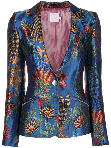 Синий удлиненный пиджак с вышивкой на пуговицах из вискозы Stella Jean