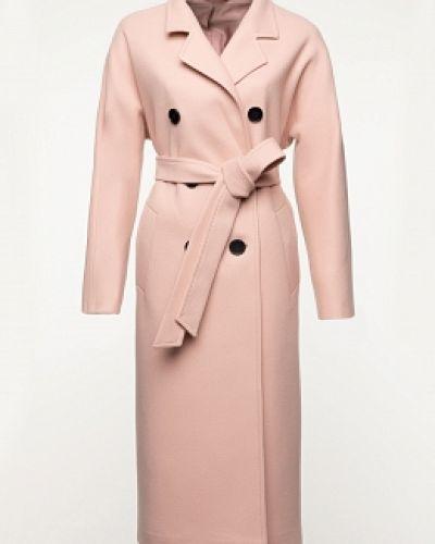 Бежевое шерстяное длинное пальто с воротником заря моды