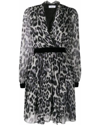 Шелковое черное платье с запахом с V-образным вырезом Blumarine