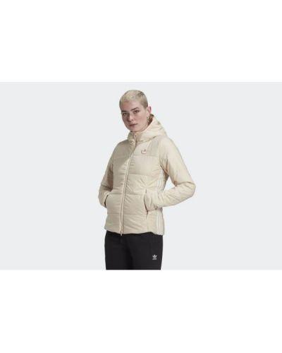Beżowa długa kurtka z kapturem z nylonu Adidas