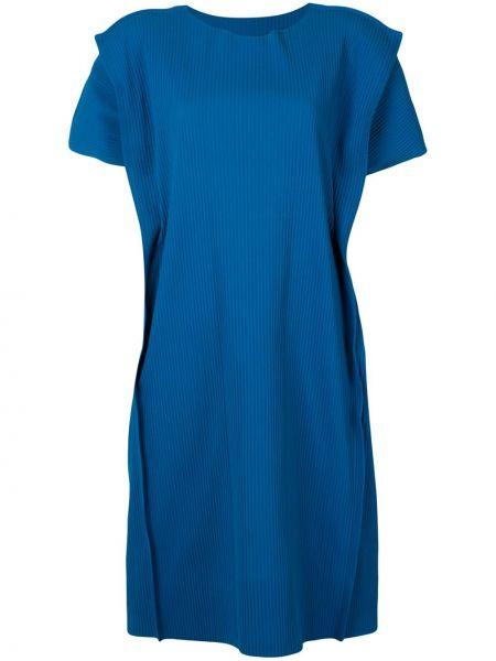 Синее платье миди с вырезом с короткими рукавами круглое Issey Miyake Cauliflower