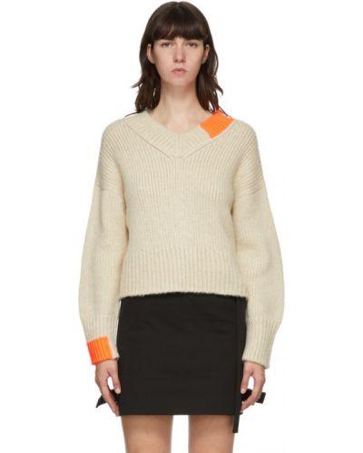 Biały sweter z kołnierzem rozciągać z dekoltem w szpic Helmut Lang