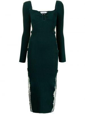 Платье макси с длинными рукавами - зеленое Self-portrait
