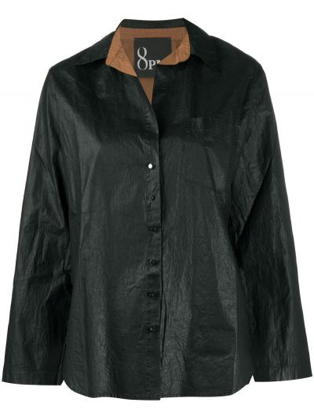 Хлопковая черная рубашка с длинными рукавами 8pm
