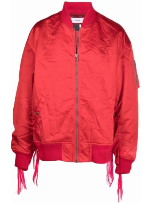 Prążkowana długa kurtka z nylonu z długimi rękawami Facetasm
