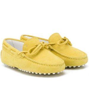Желтые мокасины с бантом Tod's Kids