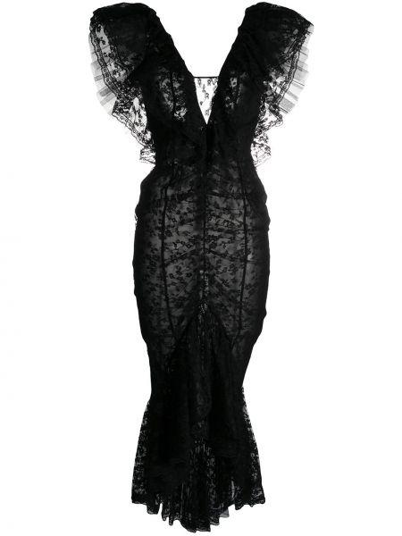 Шелковое платье годе со вставками с V-образным вырезом без рукавов Alessandra Rich