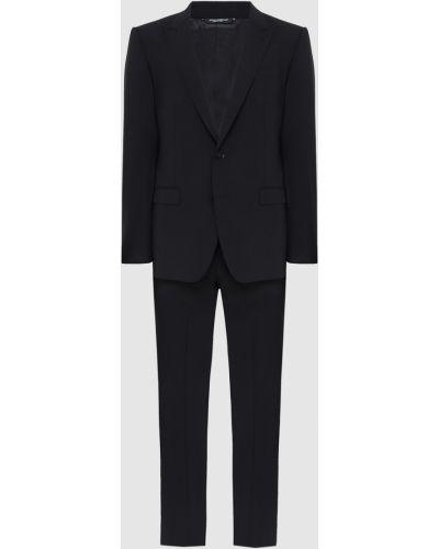 Костюмный шерстяной черный костюм Dolce&gabbana