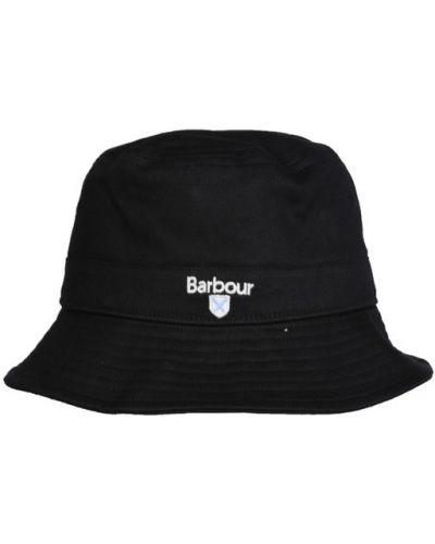 Czarna czapka zapinane na guziki casual Barbour